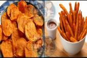 طريقة عمل شيبسي البطاطا الحلوة وأصابع البطاطا الحلوة المقلية